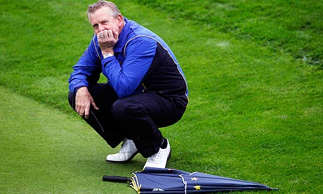 Europe's Ryder Cup captain, Colin Montgomerie, in the rain at Celtic Manor