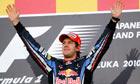 Red Bull's Sebastian Vettel celebrates on the podium after winning the Japanese grand prix.