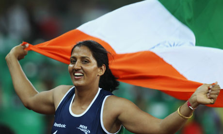 Krishna Poonia of India celebrates winning the women's discus. Picture: Ian Walton/Getty Images