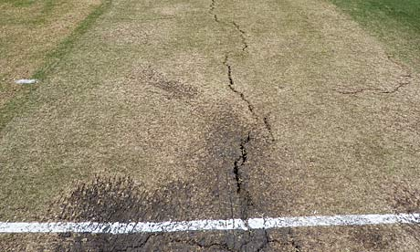 Cracks in a pitch at the WACA