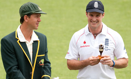 Ricky ponting and Andrew Sstrauss Ashes captain