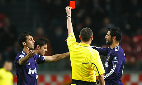 Xabi Alonso gets his marching orders in Amsterdam on Tuesday night