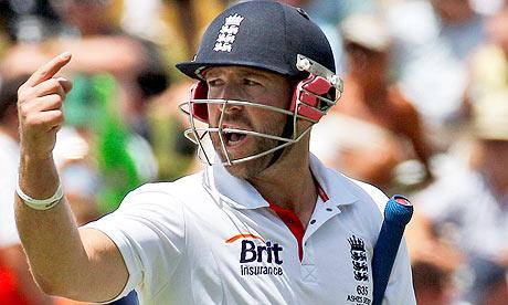 England's Matt Prior gestures