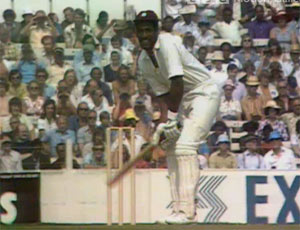 Viv Richards awaits Mike Selvey's delivery