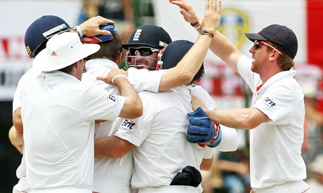 England celebrate the wicket of Simon Katich