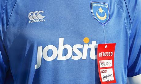 A Portsmouth football shirt on sale
