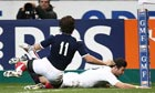 England's Ben Foden goes over for the opening try of their Six Nations game against France in Paris