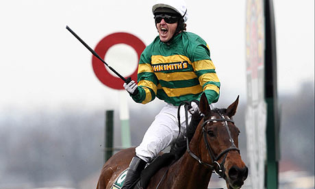 Tony McCoy celebrates on Don't Push It