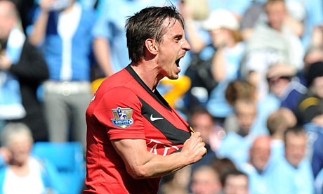 Gary Neville celebrates
