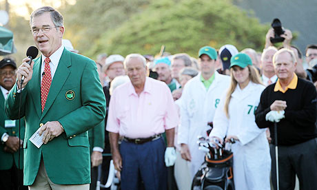 Billy Payne announces the names of the Masters' honorary starters Jack Nicklaus and Arnold Palmer