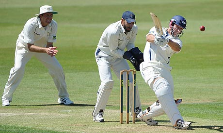 Joe Sayers of Yorkshire scores four from the bowling of Rangana Herath