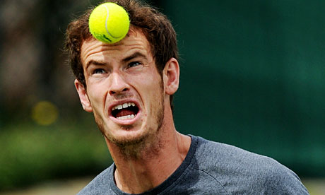 andy murray tennis serve. Andy Murray heads a tennis