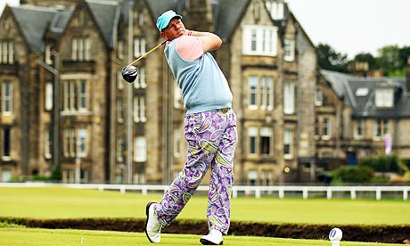 John Daly tees off on the second at St Andrews in the 139th Open Championship
