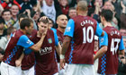 James Milner is congratulated by his Aston Villa teammates after scoring against West Ham.