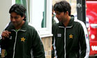 Mohammad Asif, right, arrives at Lord's ahead of day four of the fourth Test