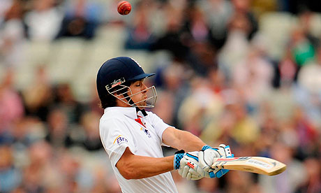 England's Alastair Cook gets himself out