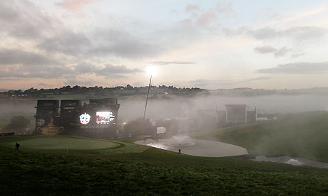 Early morning mist rests in the valley near the 18th green at Celtic Manor.