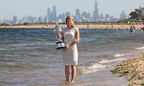 Kim Clijsters at Melbourne's Brighton Beach