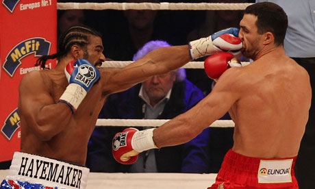 David Haye, left, lost his world heavyweight title to Wladimir Klitschko