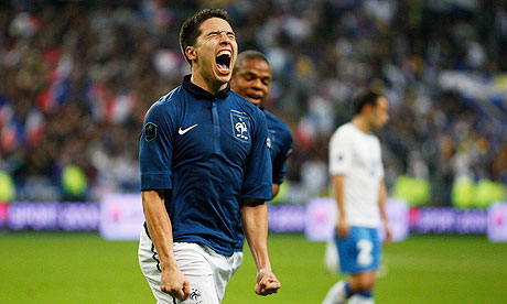 Samir Nasri celebrates after scoring for France against Bosnia-Herzegovina at the Stade de France