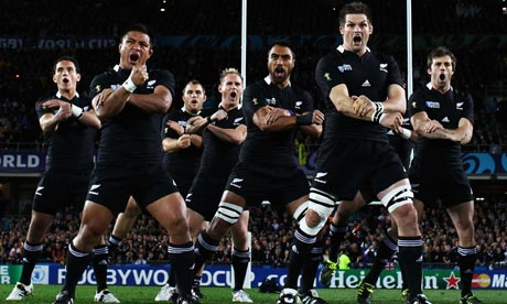 Richie McCaw, right, leads the All Blacks' haka before their World Cup semi-final against Australia