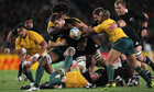 Richie McCaw drives on for New Zealand against Australia