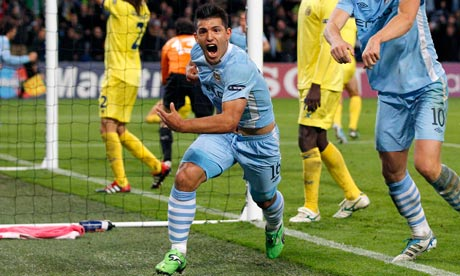 Manchester City's Sergio Aguero celebrates his late winner against Villarreal