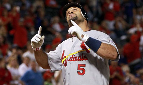 Albert Pujols 3 HRs for St Louis Cardinals v Texas Rangers