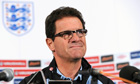 Fabio Capello talks to the press before England's friendly match against Sweden