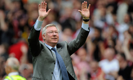 Sir Alex Ferguson salutes the Old Trafford crowd as Manchester United secure their 19th league title