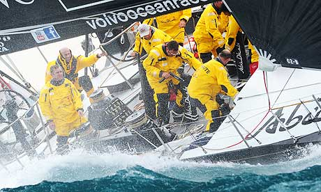 Volvo Ocean Race. Retired French footballer Zinedine Zidane (2nd left) holds ...