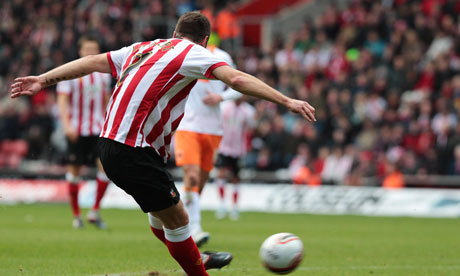 Ricky Lambert scores the first goal for Southampton against Blackpool.