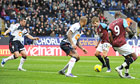Aston Villa's Marc Albrighton scores their first goal against Bolton Wanderers.