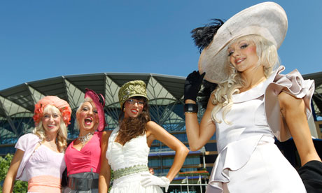 Racegoers pose on Ladies Day at Royal Ascot