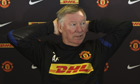 Sir Alex Ferguson of Manchester United takes in the draw that pitted his team against Ajax