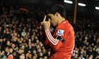 Luis Suarez of Liverpool leaves the field at Craven Cottage