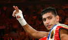 Amir Khan celebrating victory