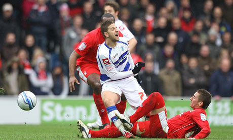 Adel Taarabt is fouled and Radoslaw Majewski was sent off: QPR v Nottingham Forest