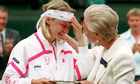 Jana Novotna is consoled by the Duchess of Kent after her defeat to Steffi Graf