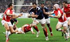 Lionel Nallet of France breaks through the Wales defence for his second try in the Six Nations game