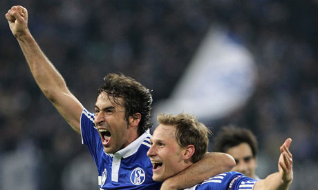 Raul and Benedikt Höwedes celebrate beating Inter