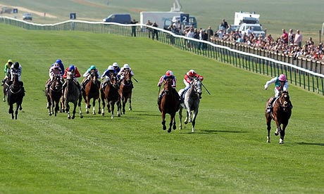 Frankel, ridden by Tom Queally, winning the 2,000 Guineas at Newmarket