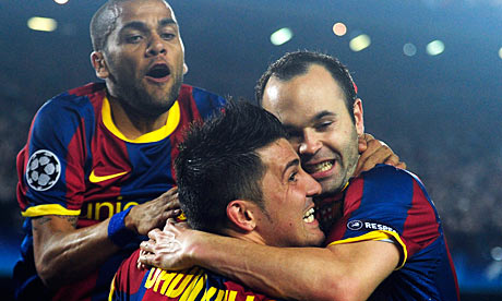 Celebrating Barcelona players