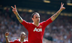 Manchester United's Dimitar Berbatov celebrates after scoring against Fulham