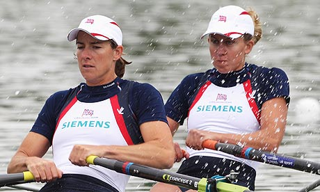 GB's Katherine Grainger and Melanie Wilson row in the women's double sculls qualification