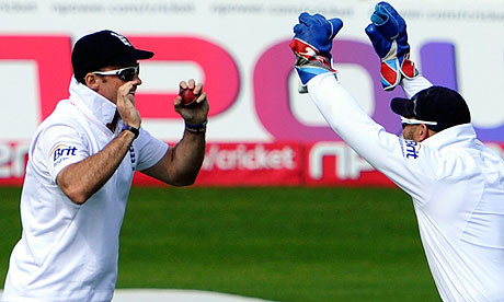 Andrew Strauss celebrates with Matt Prior