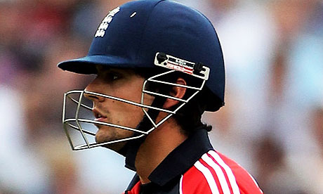 Alastair Cook of England walks after being dismissed