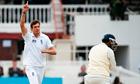 England's Steve Finn celebrates dismissing Sri Lanka's Prasanna Jayawardene, his 50th Test wicket