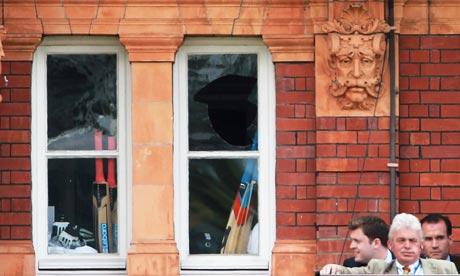 The broken window in the England dressing room