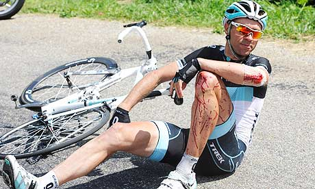 Photo: Leopard-Trek's Jens Voigt had a bad day at the office on the 14th stage of the Tour de France. Photograph: Nicolas Bouvy/EPA. � theguardian.com